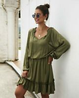 Maxi Dresses Womens Party Dress Cocktail V Neck Casual Evening Loose Long Sleeve
