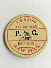 P and G Dairy Milk Bottle Cap Montpelier Ind In Indiana Unused Excellent