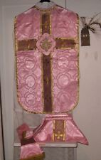 Rose Chasuble Fiddleback Vestment Catholic NEW+Veil,Stole,Maniple,Burse Laetare