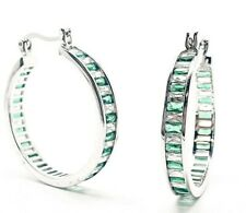 White gold finish baguette cut emerald and created diamond hoop earrings gift