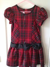 Girls holiday dress red and black plaid size 6X
