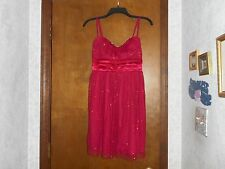BY & BY RED SPAGHETTI STRAP SHORT DRESS W/SPARKLY TULLE SIZE 11