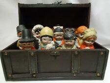 Vintage Porcelain Bisque Children of the World Larger Size 1930s Japan Wood Box