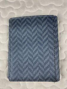Fossil Travel Wallet Black & Gray Leather Pattern Bi Fold Large Unisex