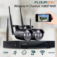 FLOUREON 4CH Wireless CCTV 1080P NVR DVR Kit Outdoor Wifi Camera Security System
