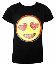 KIDS EMOJI EMOTICON SMILEY FACE T SHIRT TEE TOP BRUSH CHANGING SEQUIN AGE 3-14 Y