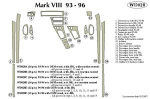 LINCOLN MARK VIII 1993 1994 DASH TRIM KIT a