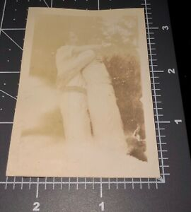 30s Affectionate Women HUG From Behind Woman Gay Lesbian Vintage Snapshot PHOTO