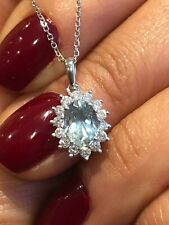 18CT WHITE GOLD AQUAMARINE AND DIAMONDS CLUSTER PENDANT NECKLACE GOY805