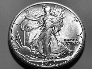 1916-D Walking Liberty Silver Half Dollar * Superb Gem BU *