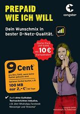10 Euro Guthaben Congstar Pre Paid Karte D1 Telekom Netz Top Tarif Kein Vertrag!