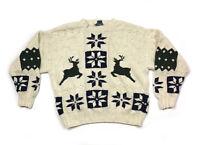 Chaps Ralph Lauren Ivory Hand Knit Linen Blend Sweater Reindeer Nordic Men's XL