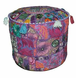 Indian Pouf Ottoman Multicolor Patchwork square Fabric Hassock Floor Pouffe
