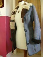 Ladies real JACOB SHEEPSKIN COAT JACKET UK 8 10 blue ANTARTEX shearling scotland