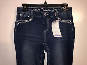 NEW Justice Premium Jeans Stretchy Skinny Knit Jeggings Simply Low SIZE 16R Blue