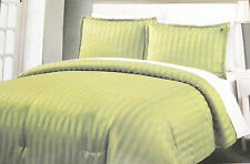 Full/Queen - Beverly Hills Polo Club -Dobby Striped Green Sham & Comforter Set