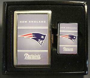 NEW ENGLAND PATRIOTS CLASSIC LOGO CIGARETTE CASE / WALLET AND LIGHTER GIFT SET