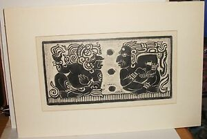 E.CANUL VINTAGE COLOR SIGNED WOODBLOCK