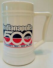 71st Indianapolis/Indy 500 May 24, 1987 Ceramic Stein With Logo NOS Unser Foyt