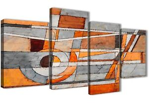 Large Burnt Orange Grey Painting Abstract Bedroom Canvas Decor - 4405 - 130cm
