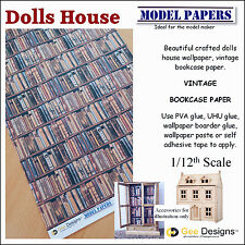 Doll House Wallpaper Vintage Bookcase paper 1 / 12th Scale