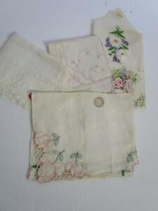 Vintage Madeira Irish Austrian Linen Hankie  Lot of 4 Embroidered fFlowers