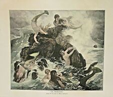 THE MERMAIDENS, by Bocklin, Fantasy Hand Colored, Vintage 1874 Antique Art Print