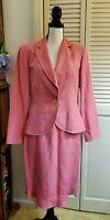 Etcetera CARLISLE Viscose Linen Blend 2-Piece Skirt Suit sz 8 Pink & Green