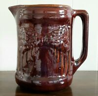 """Large Antique Brush McCoy Pottery Pitcher - Brown Woodland """"Avenue of Trees"""" Dar"""