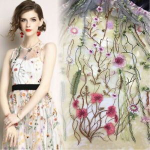 1 Yard Floral Embroidery Lace Fabric Wedding Bridal Dress Veil Tulle Gauze Craft