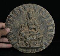 """7.4 """"Ancien Palais Dynastie en Bronze de Chine Vert Tara Déesse Bronze Miroir"""