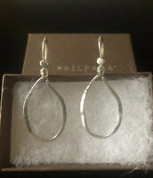 Vintage SILPADA 925 Sterling Silver Lasso Oxidized Hammered Oval Earrings W1551