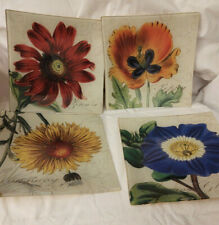 "(4)Heidi Dobrott Glass Plates  RAZ Imports Floral Design 8"" sq Decorative"