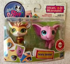 New Littlest Pet Shop Totally Talented Pink Elephant 2693 & Yellow Chipmunk 2692
