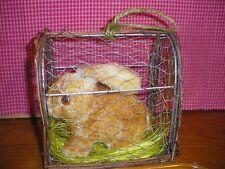 Country Rabbit in Wire Cage   7 x 4.8 x 7.2 Tan  Hang or Sit   No door