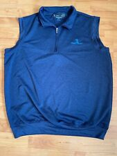 Pebble Beach Quarter Zip Golf Vest Size Large Dark Blue Euc