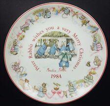 Wedgwood Beatrix Potter Peter Rabbit 1984 Christmas Plate Vtg Holiday