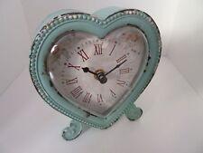 Sass & Belle Home Decor Duck Egg Blue Heart Shaped Clock Floral Face (RJB4000)