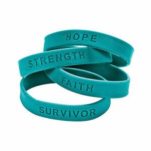 24 pc. TEAL  Awareness Sayings Bracelets Multiple uses Cervical Cancer, PTSD