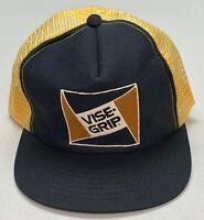 1980's VISE-GRIP Mesh Snapback Trucker Cap Yellow & Rare Black Stitched Brim Hat