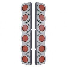Peterbilt Rear Air Cleaner Kit 12 Low Profile Red LED Lights & Bezels - Red Lens