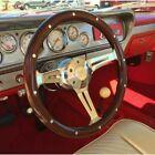 15 380mm Dark Steering Wheel Chrome 3 Spoke Real Wood Riveted Grip 6 Hole Horn