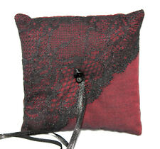 Gothic Wedding Ring Pillow Burgundy with Black Lace