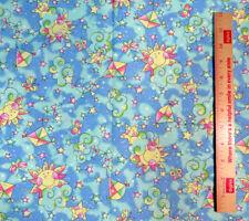 "Kites Clouds Butterflies Smiling Suns & Stars Nursery Print  59"" wide BTY"