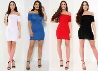 Womens Ladies Stretchy Sleeves Basic Bardot Fit Bodycon Dress Front Top Sleeve