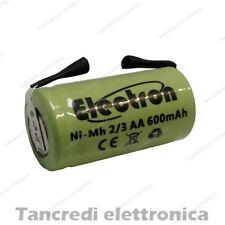 BATTERIA RICARICABILE NiMh 2/3AA 600mAh 1.2V con lamelle linguette a saldare