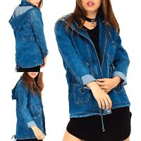 Womens Ladies Vintage Hooded Zip Up Pockets Long Sleeve Outerwear Denim Jacket