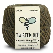 100% Organic Hemp Wick with Natural Beeswax Coating | Twisted Bee (200ft x