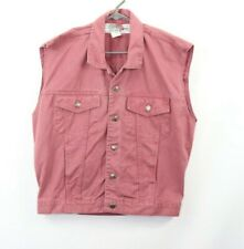 Vintage 90s Mens Medium Full Button Sleeveless Denim Jean Jacket Vest Maroon