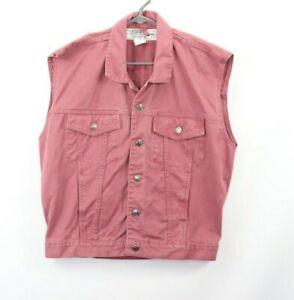 Vintage 90s Mens Medium Full Button Sleeveless Denim Jean Jacket Vest Maroon
